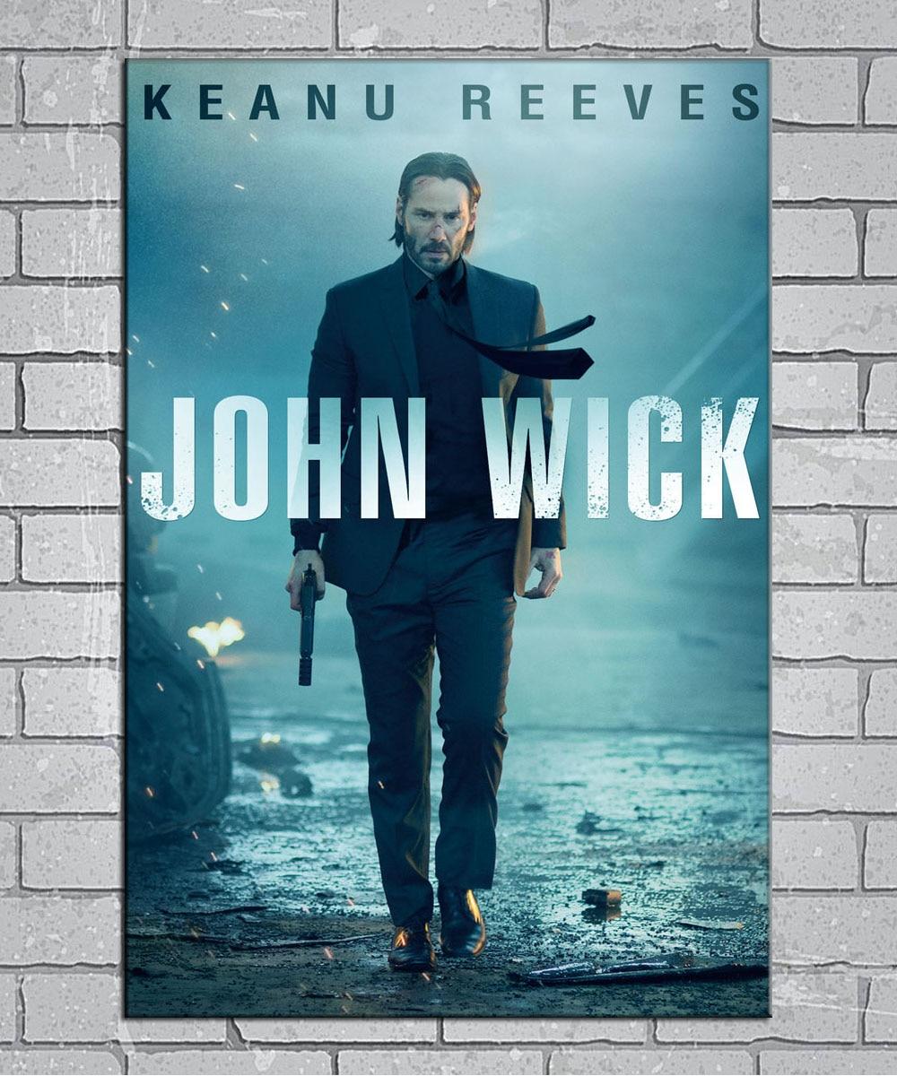 John Wick Keanu Reeves Gun Shoot 2017 Movie Light Canvas