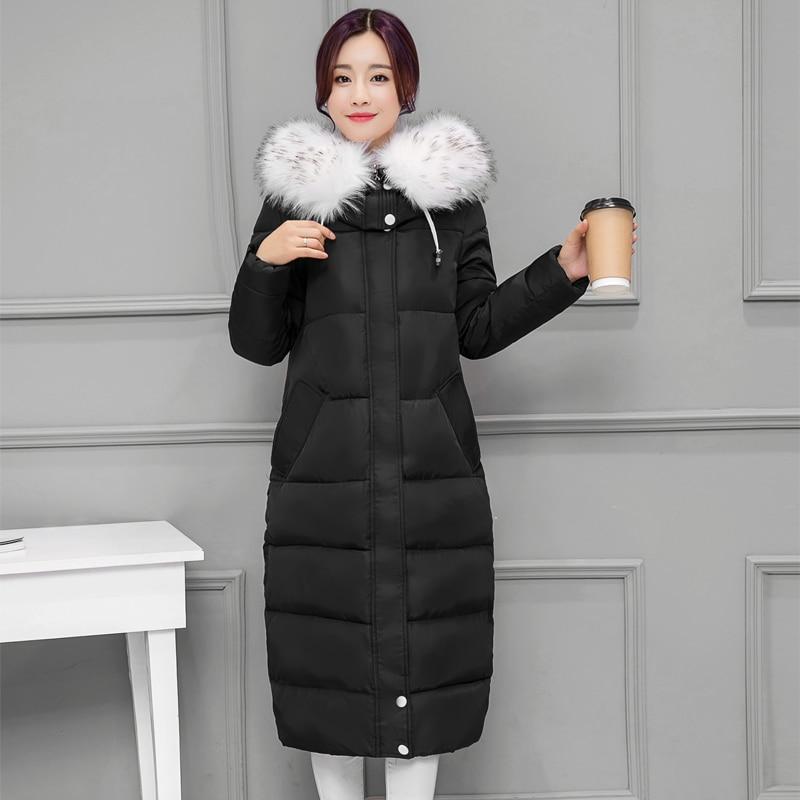ФОТО Winter New Long Coat Slim Thickened Big Fur Collar Warm Jacket Cotton Padded Zipper Plus Size Outwear Casacos Femme MZ1087