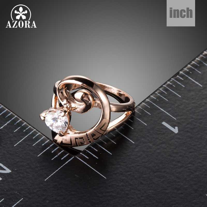 AZORA Luxus Sparkly Mystic Herz Cut Klar Zirkonia Ringe Für Frauen Rose Gold Farbe Schmuck Geschenk Ring Jahrestag TR0220
