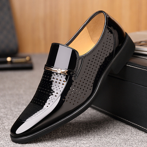 Image 3 - 2019 Summer Pointed Toe Men Dress Shoes Breathable Black Wedding Shoes Formal Suit Office Shoes Man Patent Leather Oxfords