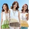 Nível da versão Coreana de verão multicolorido das mulheres camisa sem mangas chiffon/mosaico de moda camisola colete
