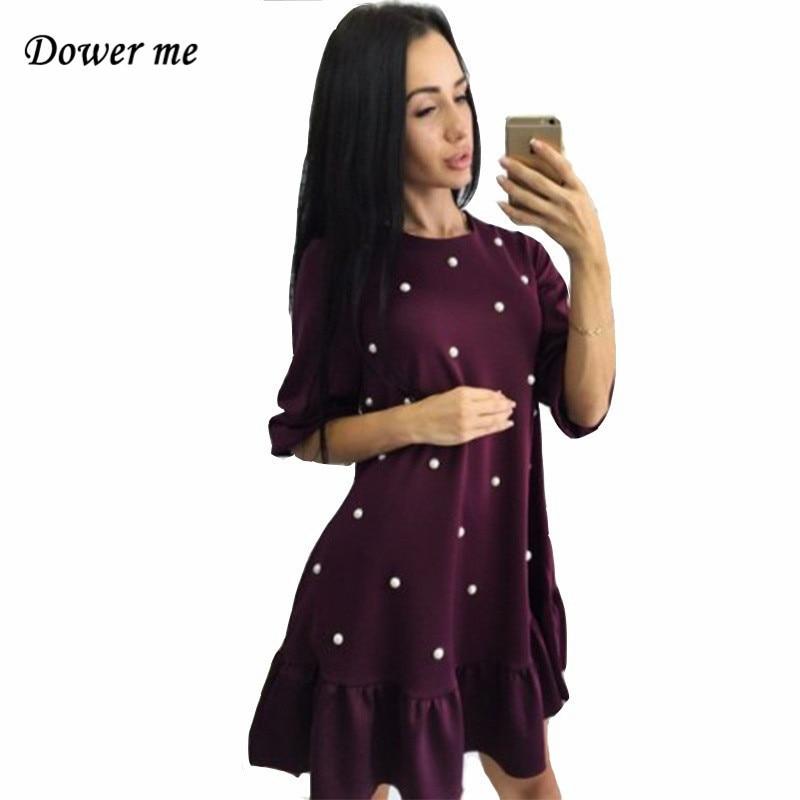Модные Бисер свободные женское платье дамы элегантный оборками дамы Мини-платья женский Повседневное просто половина рукав платья yn3049