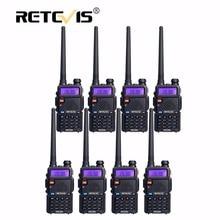 8 unids Retevis RT5R Walkie Talkie VHF UHF 5 W 128CH FM Pantalla LCD Portátil de 2 Vías de Radio Estación de Radio VOX Linterna Walkie-talkie