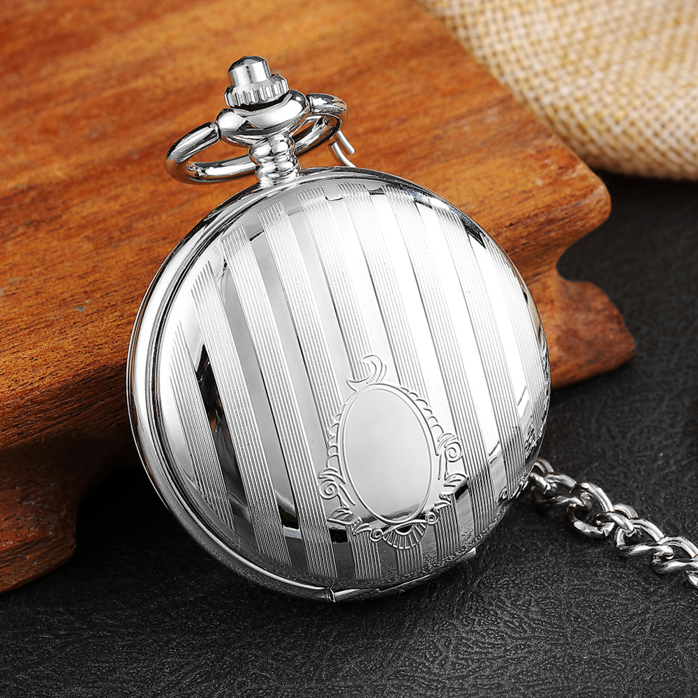 Antique Engraved Silver Case Mechanical Pocket Watch Double Flip Cover Skeleton Steampunk Pendent Necklace Clock Fob Watches