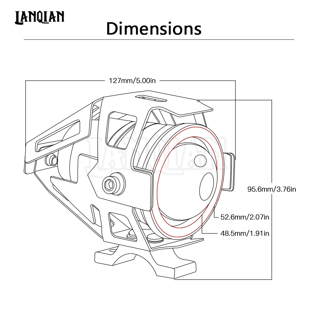 Universal 12v Motorcycle Metal Led Headlight Driving Spot Head Lamp Ducati 200 Wiring Diagram Range200 Meters Weight600g Shell Color Black Light White Red Wire Positive Negative Fits For Bicycles Motorcycles