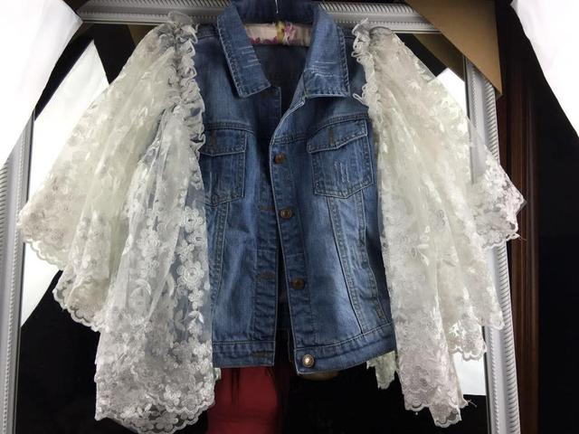 The new Thailand  tide brand 2016 new autumn women  Lace betterfly sleeve   denim vest