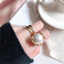 Hot sell rings for women Golden Korean Metal Double layer punk gothic rings Accessories Imitation Pearl Ring Fashion Jewelry