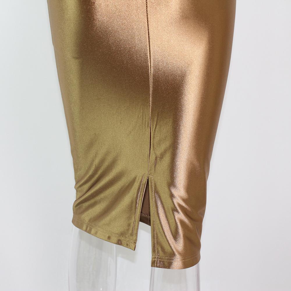 Sexy Party Midi Dress Bodycon Satin Shiny Party V Neck Sleeveless Split Back Cross Straps Gold Red Knee length Dresses Black 22