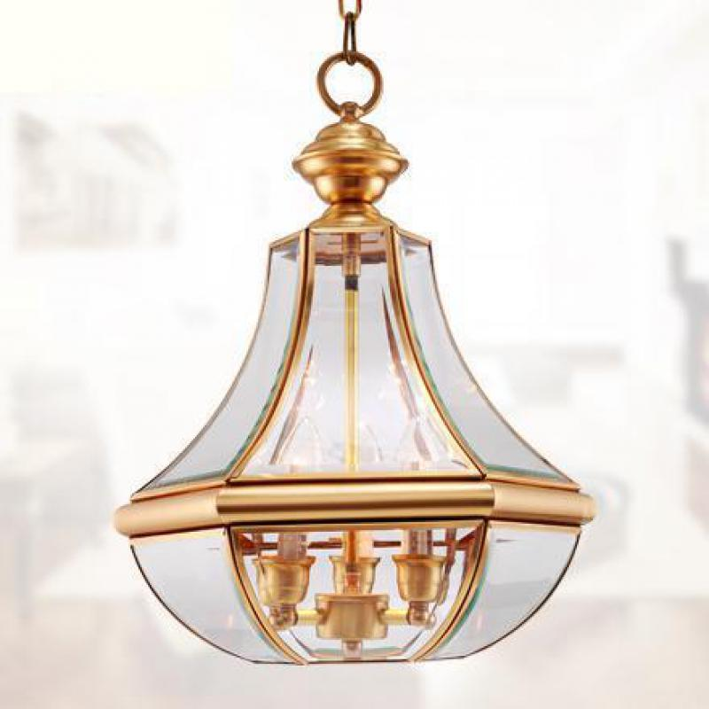 Dressing room suspension Lamp Lampara Antique glass shade Full Copper Aisle Porch Balcony pendant lights indoor Kitchen lighting japan korea style antique 3 bulb walkway lamp porch light aisle balcony glass pendant lights copper kitchen entrance lighting