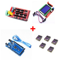 1pcs Mega 2560 R3 1pcs RAMPS 1 4 Controller 5pcs DRV8825 Stepper Motor Drive 1pcs LCD
