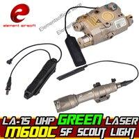 Element Airsoft surefir M600C Weapon Scout light IR PEQ 15 Green Laser Double Control Switch Tactical Flashlight Arms Gun Lamp