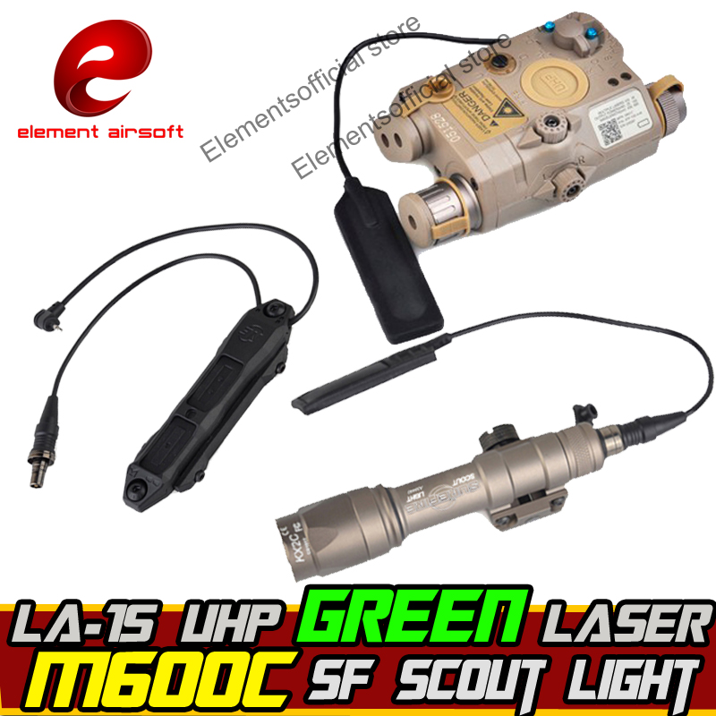 Element Airsoft surefir surefir ARME light Scout IR PEQ 15 vert Laser Double Contrôle Interrupteur Lampe de poche tactique d'armes Des Armes À Feu Lampe