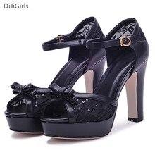 Fashion Ankle Strap Women Sandals Black High Heel Sandals charm Lace Peep Toe Platform Glitter Thick Heel Sandals Party Shoes