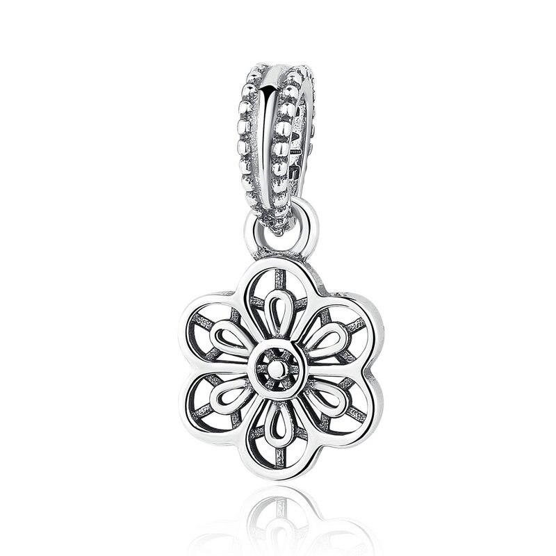 925 Sterling Argent Floral Marguerite Dentelle pendentif charm Convient  Pandora Bracelet Collier