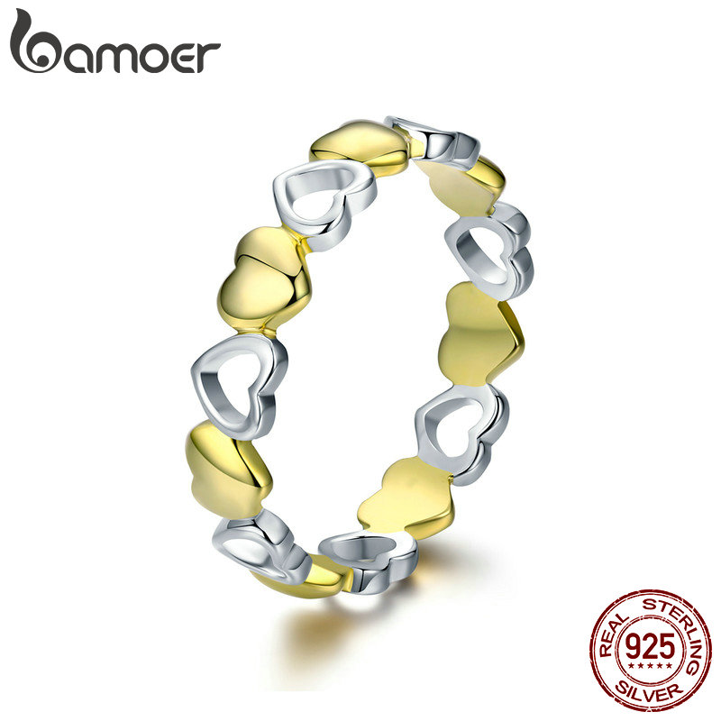 BAMOER High Quality 100% 925 Sterling Silver Stackable Gold Heart Engrave Finger Rings for Women Sterling Silver Jewelry SCR317 ...