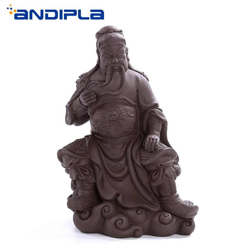 Chinese Handmade Lucky Guan Yu Figurine Yixing Purple Clay Tea Pet Boutique Ceramic Crafts Tea Accessories Feng Shui Home DecorChinese Handmade Lucky Guan Yu Figurine Yixing Purple Clay Tea Pet Boutique Ceramic Crafts Tea Accessories Feng Shui Home Decor