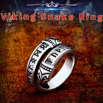 Beier 316L Stainless steel Norse Viking scandinavian Odin 's Symbol Snack Runes Amulet Elder Futhark Ring for men jewelry LR575