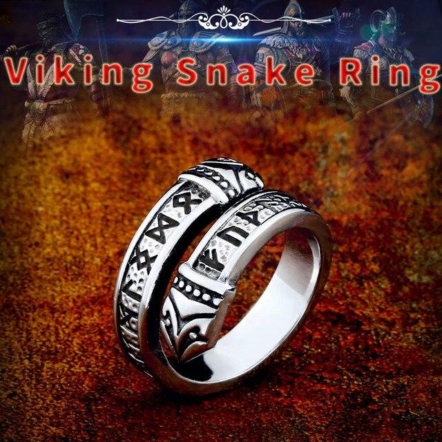 Beier 316L Stainless steel Norse Viking scandinavian Odin 's Symbol Snack Runes Amulet Elder Futhark Ring for men jewelry LR575