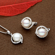 Sinya 9-11mm natural pearls silver earring pendant necklace