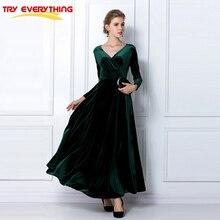 Try Everything Green Red Long Velvet Dress Women V Neck Winter Dresses Women 2019 Elegant Long Sleeve Dress Vestidos De Fiesta недорого