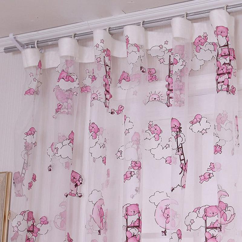 Summer Children Cartoon Bear Pattern Curtain For Living Room Yarn Printed Organdy Net Curtain Modern Window Curtain For Home
