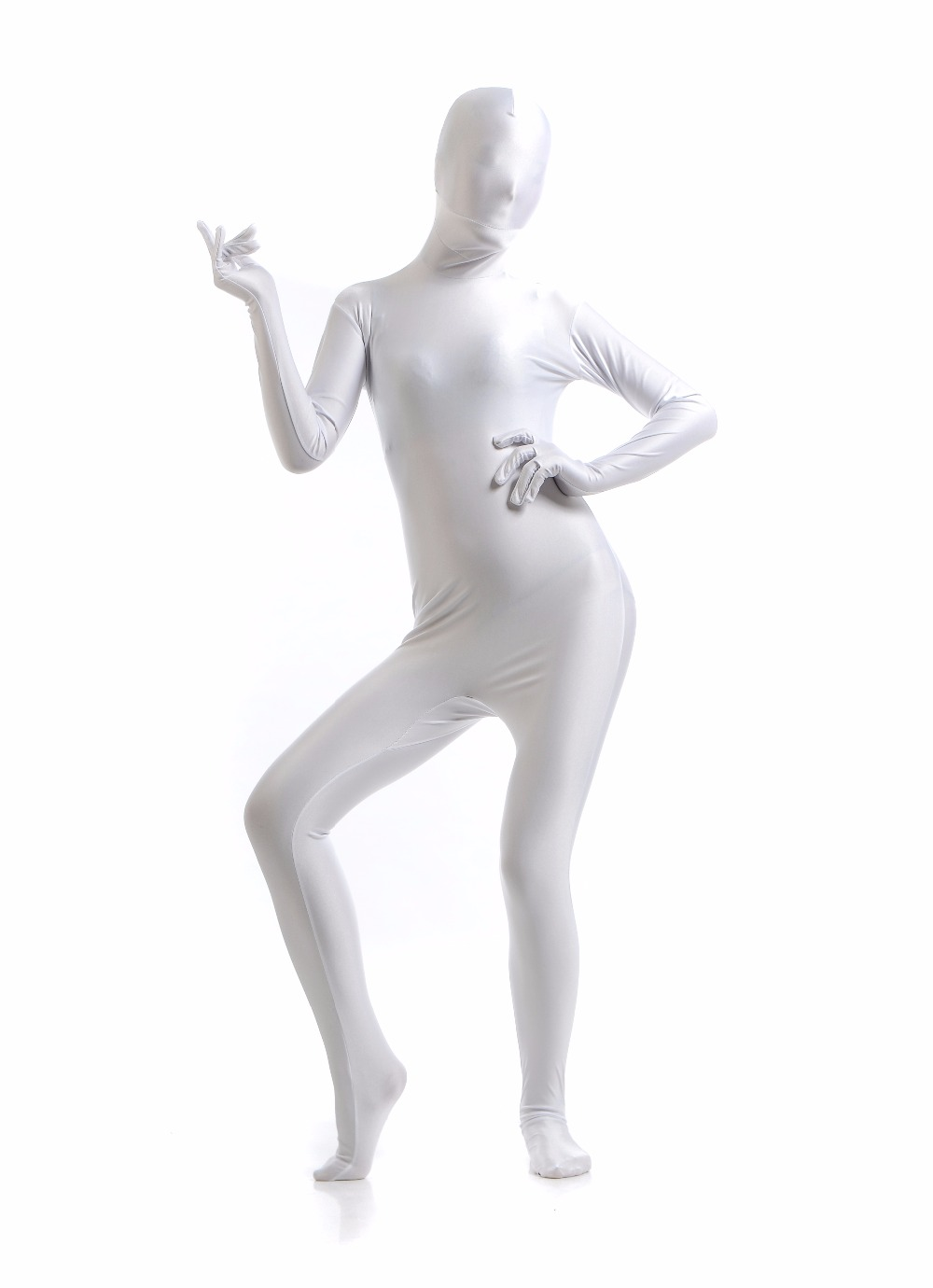 Womens Long Sleeve White Bodysuits Full Body Suit Lycra Zentai Suits Zip Spandex Zentai Catsuits Female Skin Tight Suits Cosplay