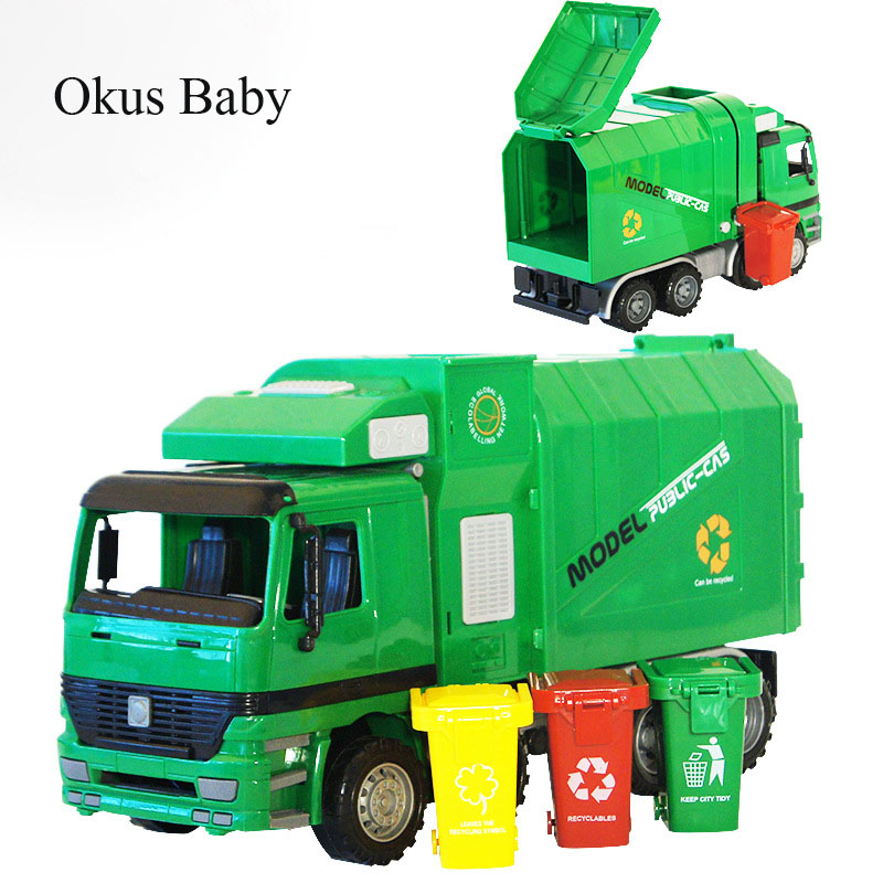 Music And Lights Large Size Children Simulation Inertia Garbage Truck Sanitation Car Vehicle Toy Kid Toys With 3 Garbage Cans