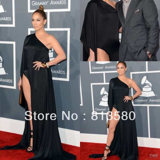 d8b6204f31623 US $125.0  Jennifer Lopez 2013 Red Carpet Black Stretch Satin One Shoulder  Long Sleeve High Slit Celebrity Dresses Court Train-in Celebrity-Inspired  ...