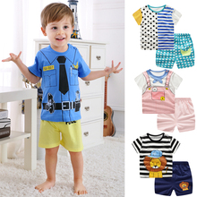 Summer children clothing sets cartoon toddler girls top+pant 2Pcs/sets kids casual boys clothes sport suits DS19