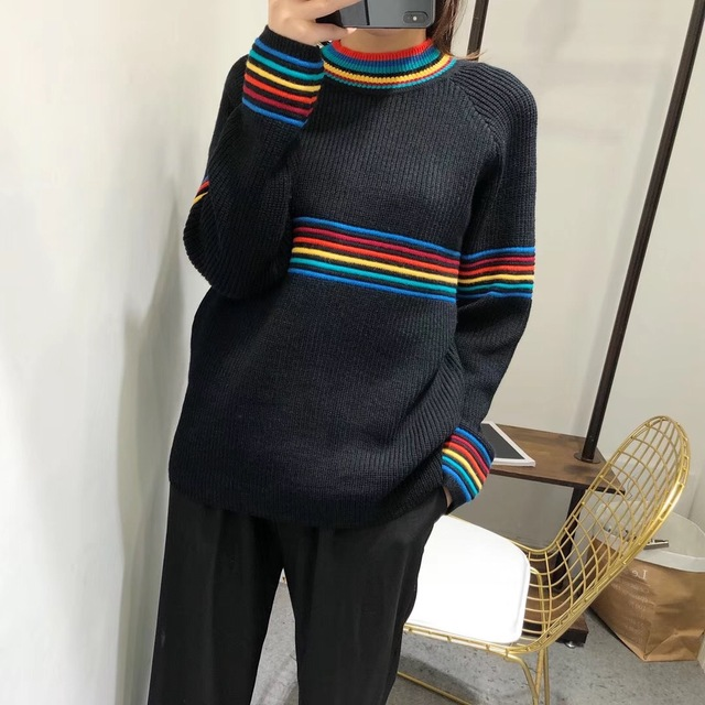 Loose Knitted Pullover with Rainbow Stripes 2colors
