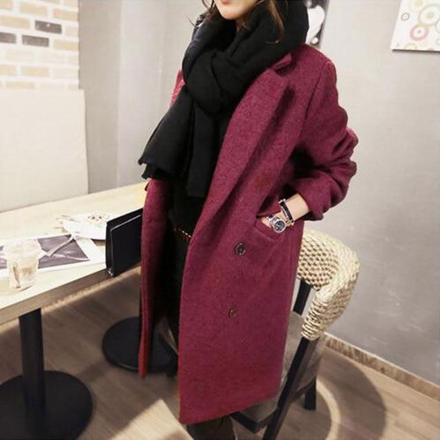 Двойной Брестед Полушерстяные Новый 2017 Корейской Моды Красное вино женщины Зимние Пальто И Куртки Толстый Теплый Elegent Пиджаки Пальто Y144