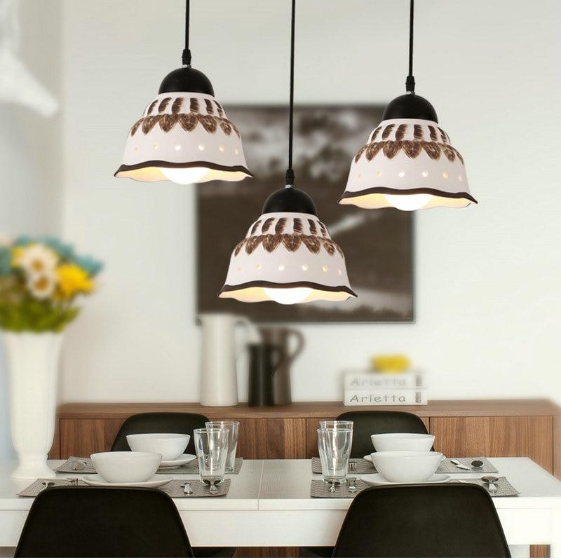 LED Hanging Lamp Luminaria Lustre White Ceramic Abajur
