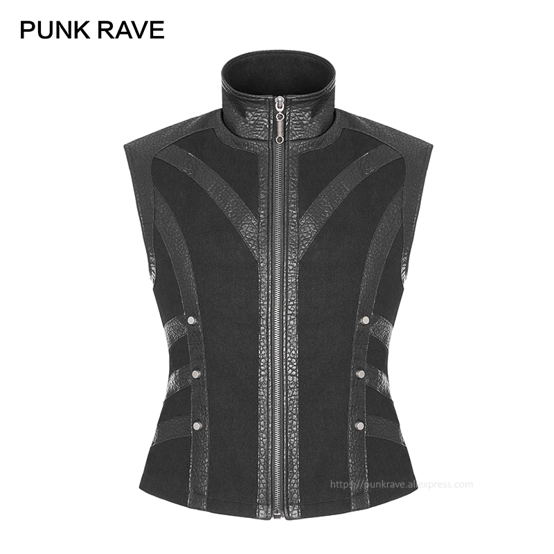 PUNK RAVE Punk Coarse Twill Woven Black Rock Men Vest Personality Fashion Vests Leather Waistcoat Gothic Rock Men Winter Jacket-in Vests & Waistcoats from Men's Clothing    1