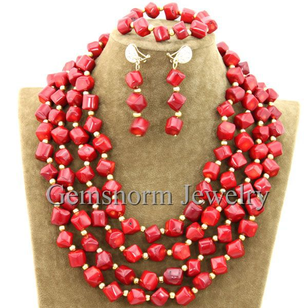 Awsome Red Coral Beads Wedding Jewelry Set Charms African Coral Beaded Necklace Set Free Shipping CNR289
