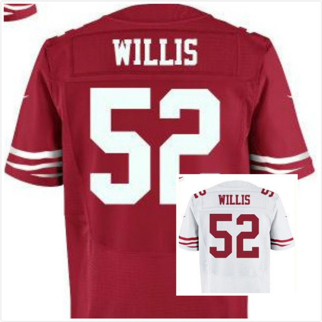#52 Willis Scarlet Jersey,Elite Football Jersey,Best quality,Authentic Jersey,Embroidery Logo,Size M--3XL,Can Mix Order