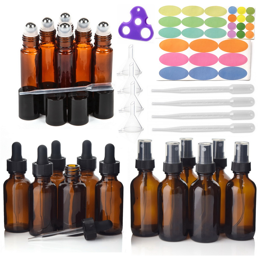 18pcs Empty Amber Glass Essential Oil Bottles with Stainless Steel Roll on Roller Balls & Accessories for Essential oils Perfume