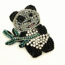 2pc Sew On Rhinestone Beaded Panda Patch Crystal Applique Patches For Clothing Shoes Appliques Parches Bordados Ropa DIY AC0892