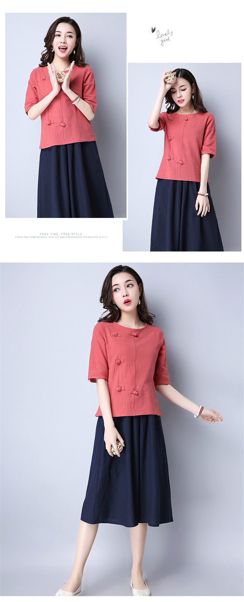 Cotton 2018 Summer Half Sleeve Loose Lady Vintage Women Shirt O Neck Chinese Style Linen T-Shirt Button 3XL 9