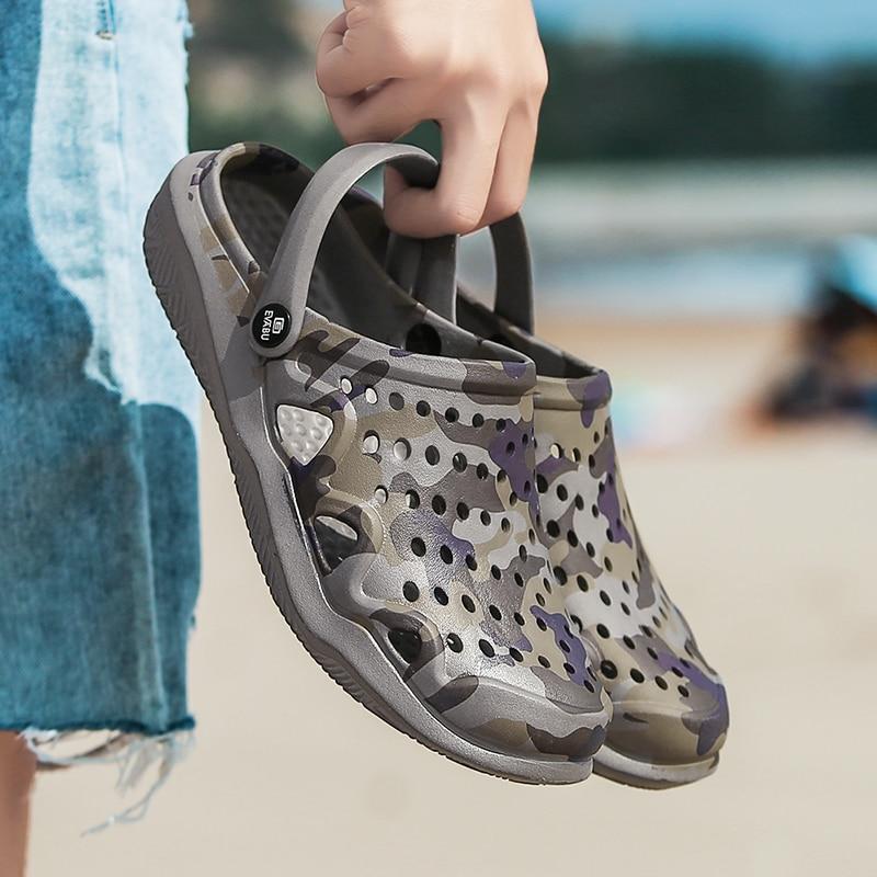 Мужские летние сабо, дышащие Нескользящие шлепанцы, повседневные пляжные сандалии, новинка 2019 Тапочки      АлиЭкспресс