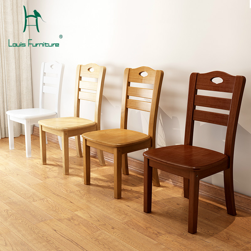Louis Fashion Dining Chairs New Chinese Solid Wood and Rubber Wood Home Hotel Modern Minimalist Modern