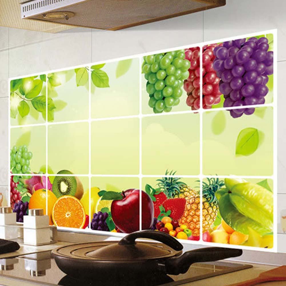 New Kitchen Fruit Grapes Removable Wall Stickers Anti  Oil Stickers Wall  Stickers Kitchen Tiles Aluminum