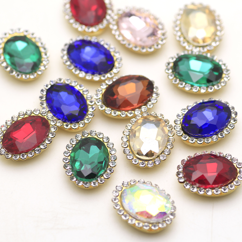 15pcs Mix Color Sew On Rhinestone Golden Base With Claw Crystal Strass Oval Shape Rhinestone Buttons Applique DIY Clothing Shoes