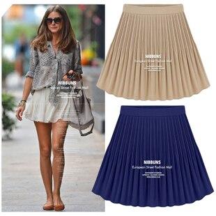 2014 nova S - XL Retro cintura alta na altura do joelho saco Chiffon plissado grande Saia Saia feminino busto saias das mulheres sólidos saias femininas