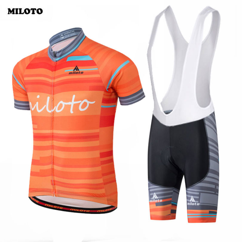 MILOTO Team Men Ropa Ciclismo Pro Cycling Jersey Short Sleeve Bike Outfit  Sports Bicycle Top Breathable Bib Shorts Sets Orange-in Cycling Sets from  Sports ... 5bd60b60d