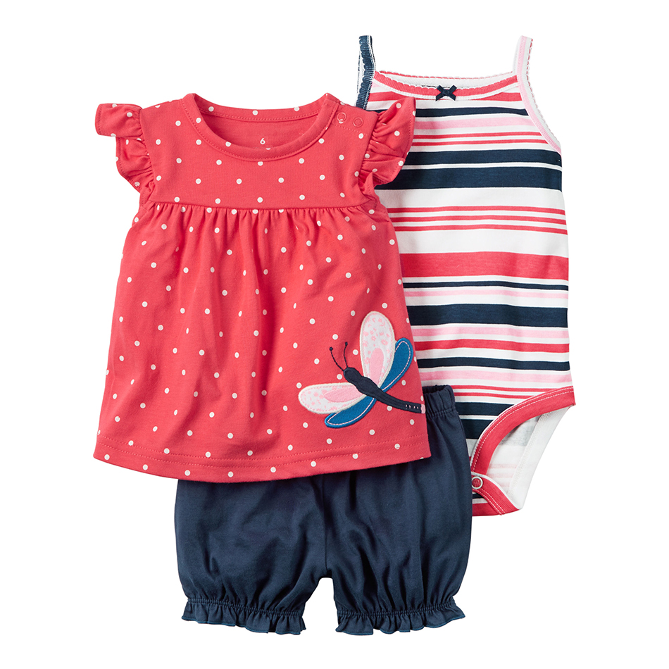 c807c8662 summer Baby girl clothes sleeveless dot T shirt tops+bodysuit+shorts  clothing set newborn
