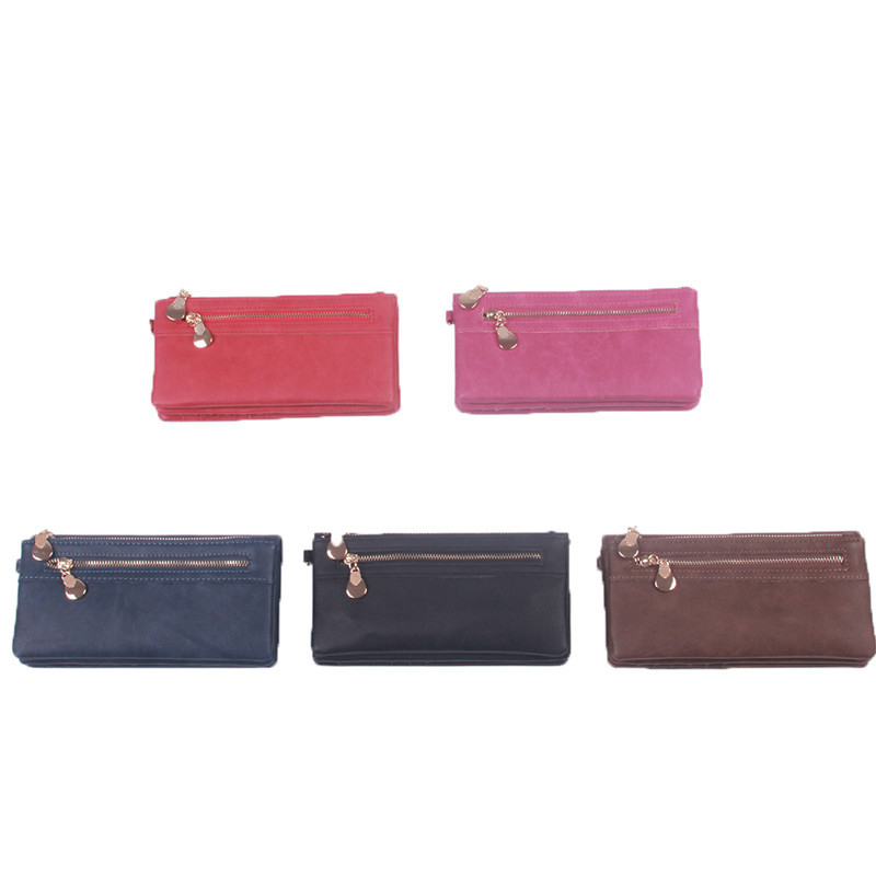 cf207570af2ec Fashion Women Wallets Dull Polish Leather Wallet Double Zipper Day ...