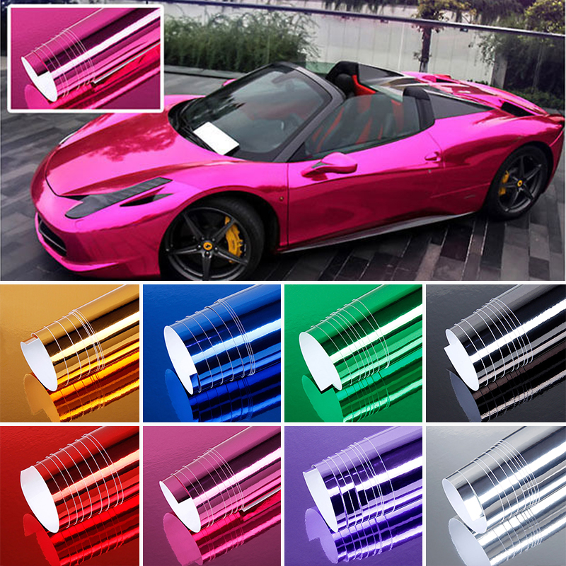152*52cm Bubble Free Chrome Mirror Vinyl Wrap 8 Colors Car Electroplating Mirror Color Changing Vinyl Film Mayitr