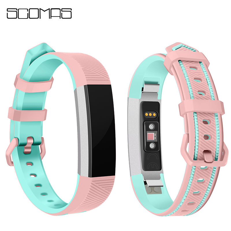 SCOMAS Double Color Replacement Strap for Fitbit Alta HR Bands with Metal Buckle Silicone Wristbands Strap for Fitbit Alta Watch ...