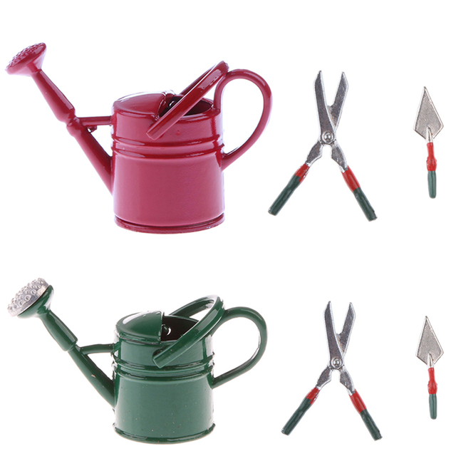 Green + Red 1/12 Dollhouse Miniatures Watering Can And Gardening Tools Set  For Dolls