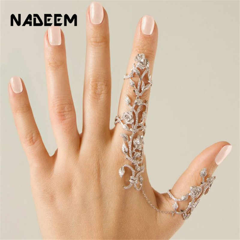 NADEEM Women Bohemia Multiple Crystal Stack Knuckle Band Link & Chain Finger Rings Set Fashion Women Girl Gift Punk Ring Jewelry